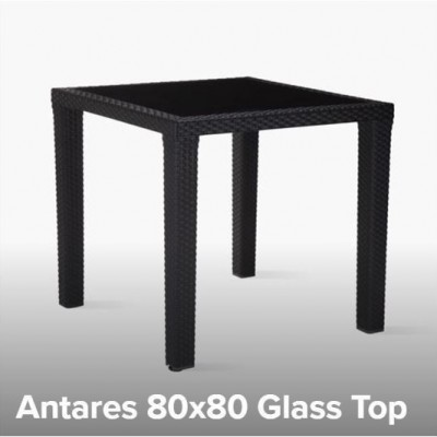 TABLE PLASTIC ANTARES 80x80 WITH GLASS - WOOD / PLASTIC LEGS TUR