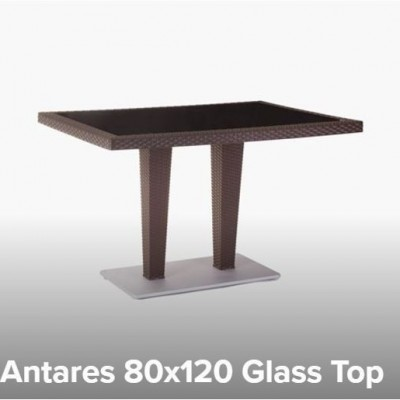 TABLE PLASTIC ANTARES 80X120 WITH GLASS - WOOD / ALUMINIUM BASE TUR