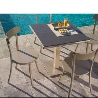 TABLE AND CHAIR BISTRO  (1+2) ROUND 80 - BEACH WOOD+40X40X72 -IT DOVE