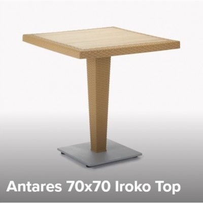 TABLE PLASTIC ANTARES 70x70 WITH IROKO - WENGE/CHROME BASE TUR