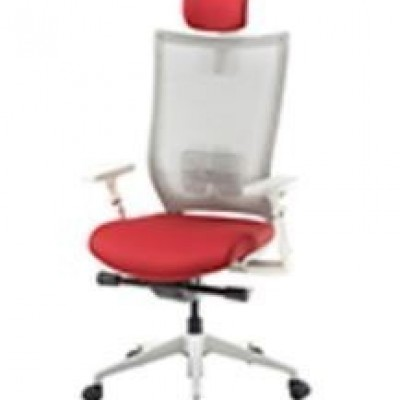 CHAIR EXECUTIVE HIGH BACK - SIREN GREY & RED MESH