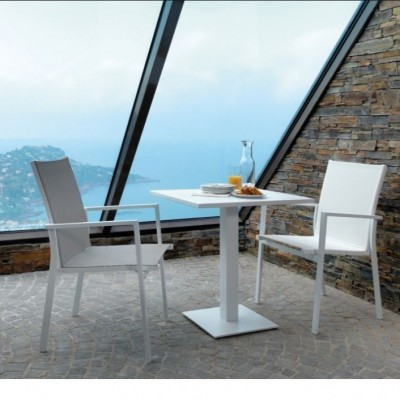 TABLE AND CHAIR MAIORA (1+2)SQUARE  80X80 -IT GREY +40X40X72 -IT WHITE