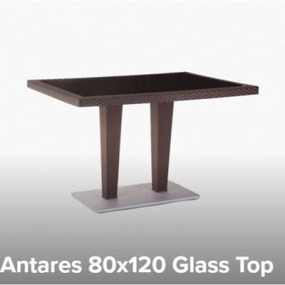 TABLE PLASTIC ANTARES 80X120 WITH GLASS - WOOD / ALUMINIUM BASE TUR