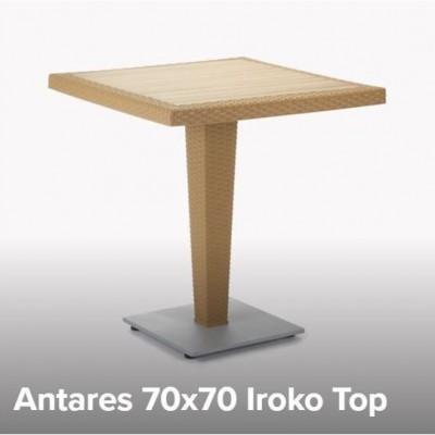 TABLE PLASTIC ANTARES 70x70 WITH IROKO - WENGE/CHROME BASE TUR