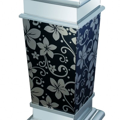 DUST BIN WITH ASTRAY SILVER DESIGN ON BLACK